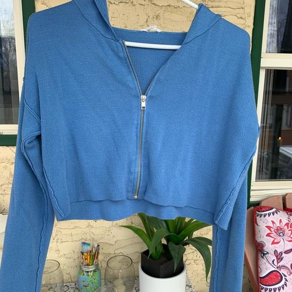 blue GARAGE cropped zip up hoodie